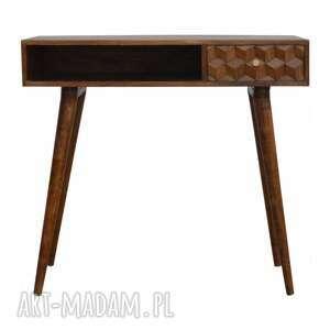biurko drewno konsola z rzeźbioną szufladą skandynawski styl, lite drewno, styl