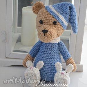 miś Śpioszek - m niebieski - miś, piżama, dziecko, przytulanka, misiaczek