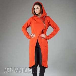 Płaszcz Asmi z kapturem asymetryczny, płaszcz, bluza, długa, na-zamek, asymetryczna,