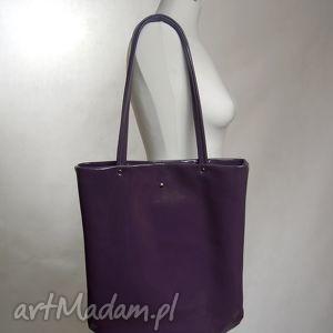 promocja-duża skórzana torba na ramię - fioletowa , torba, skóra, skórzana, duża
