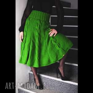 zielona spódnica z warkoczami, spódnica, dzianinowa, unikatowa, oryginalna