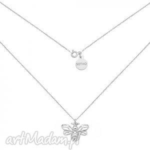 srebrny naszyjnik z pszczółką - pszczółka, minimalistyczny