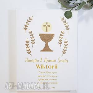 dla dziecka pamiątka komunii świętej obraz led złoty brokatowy prezent lampka