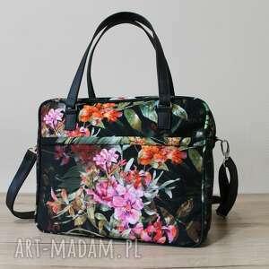 Torba miejska - tropikalne kwiaty i liście na ramię torebki