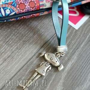 ręcznie robione breloki skórzany brelok do kluczy girl jasnoniebieski
