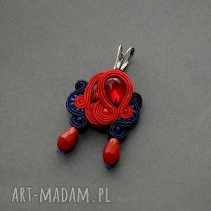 czerwono-granatowe kolczyki sutasz, sznurek, eleganckie, wiszące, granatowe, małe