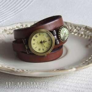 Zegarek Vintage z Grafiką Skórzany Koniakowy, biżuteria, zegarek, bransoletka, złoto