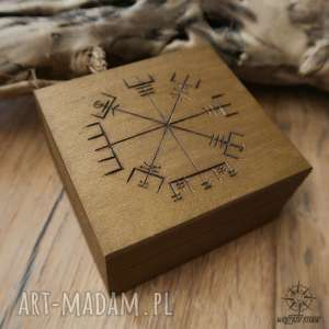Ręcznie malowane drewniane pudełko Vegvisir - złote, pudełko, szkatułka, wikingowie