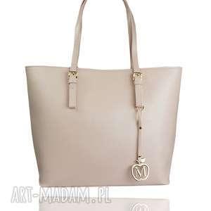 na ramię klasyczna torebka manzana miejski styl pudrowy róź, klasyczna, elegancka