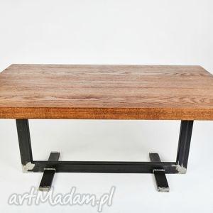 stoły stolik twiga industrialny, do loftu, minimalistyczny, dąb i stal