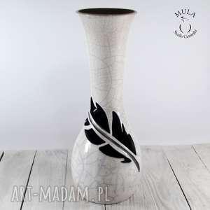 ceramika wazon wysoki pióro raku, technika ceramiczny, biały