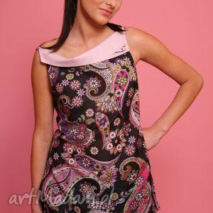 jedwabna tunika z haftowanym kołnierzem, tunika, jedwab, haft, kwiaty, wzór, kolorowa