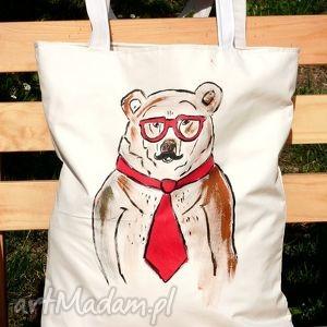 niedżwiedż hipster - eko torba z dowolnym ręcznie wykonanym rysunkiem