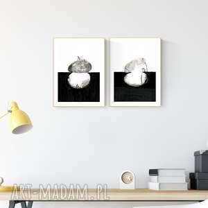 zestaw 2 grafik a4 malowanych ręcznie, minimalizm, abstrakcja czarno-biała