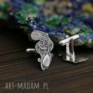 srebrne spinki do mankietów z ośmiornicami, mankietów, biżuteria