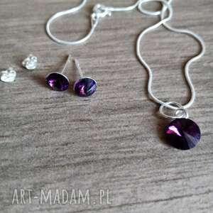 molicka komplet srebrny z kryształkami swarovskiego fiolet, swarovski