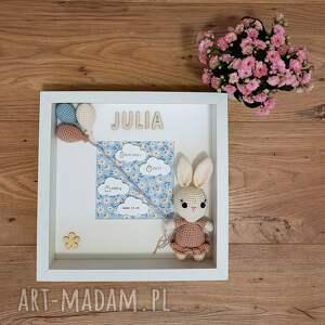 metryczka narodzin dziecka - różowy króliczek 2, metryczka, ramka, prezent