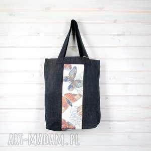 torba dżinsowa motyle zapinana, motyl, torba, pojemna, prezent, święta, zapinana