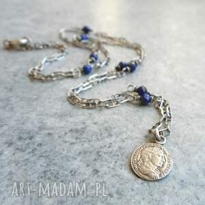 naszyjniki naszyjnik srebrny z lapisem lazuli, srebrny, srebro