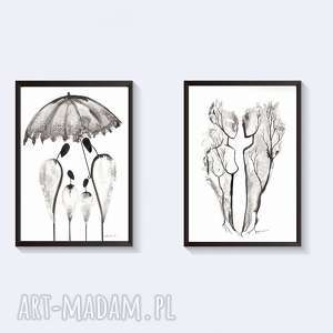 zestaw 2 grafiki czarno-białe, plakat a4, elegancki minimalizm, abstrakcja