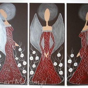 ręcznie malowane ANIOŁY SZCZĘŚCIA I DOBROBYTU - A10 90x70cm, anioły, obraz