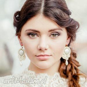 Sutaszowe kolczyki ecru, ślubne, sutasz, perły