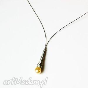 naszyjnik wisior sopelek, naszyjnik, wisiorek, kropla, oplatany, delikatny, perła