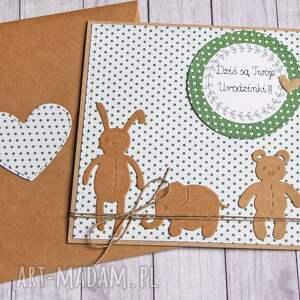 kartki kartka na urodzinki zielone kropeczki, urodzinki, urodzinowa, urodziny