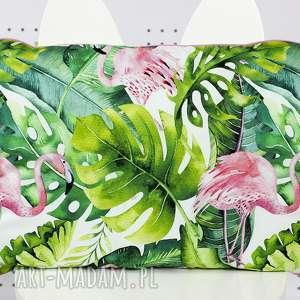 płaska poduszka do łóżeczka tropikalne flamingi, poduszka, płaska, pościel