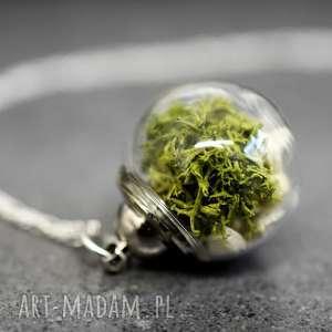 terrarium 925 srebrny łańcuszek z prawdziwym mchem kamienie - mech, kamienie