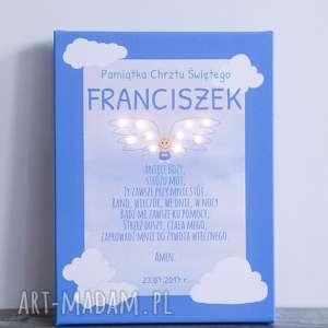 Prezent ŚWIECĄCA PAMIĄTKA CHRZTU modlitwa Aniele Boży aniołek personalizawana