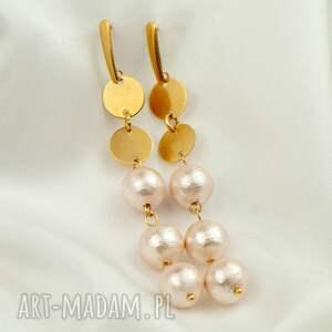 kolczyki z perłowymi kulami pozłacane c916, długie wiszące