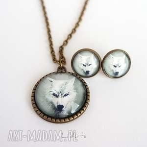 LiliArts! Naszyjnik i kolczyki - komplet - Biały wilk