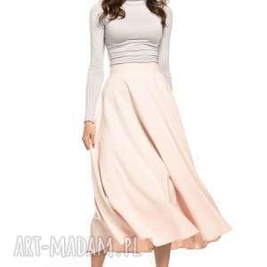 Spódnica midi, T260, jasnoróżowy, spódnice, zamek, ozdobny,