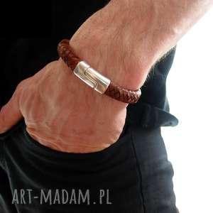 ręczne wykonanie męska bransoletka mezi manskóra - rzemienie