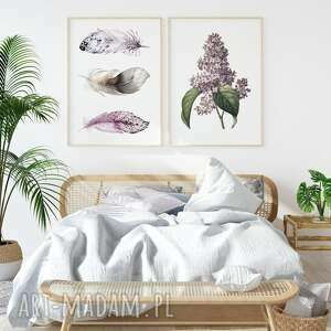 zestaw 2 plakatów #33 a4 - 21 0x29 7cm, obraz, bez, kwiaty, salon