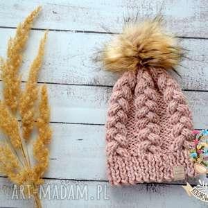 Czapka wełniana warkocze, czapka, szalik, komin, wełniana, zimowa, rękawiczki