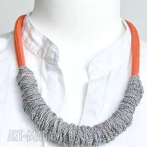 minimalistyczny naszyjnik lniany, modny naszyjnik z tkaniny - len, lniany, lina