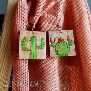 kolczyki drewniane - kaktusy, kaktus, malowanie, wypalanie, drewno, biżuteria