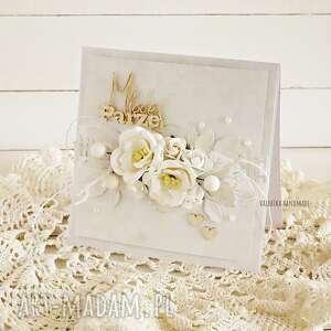 hand-made scrapbooking kartki kartka ślubna w bieli, z pudełkiem, 587