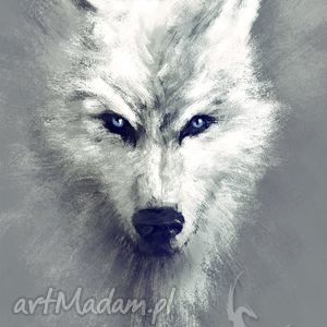 obraz biały wilk - white wolf płótno, obraz, wilk, wiedźmin, prezent, husky