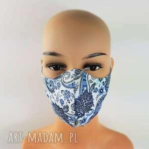 paisley kwiecista maska z granatem w łezki bawełniana maseczka wielorazowa