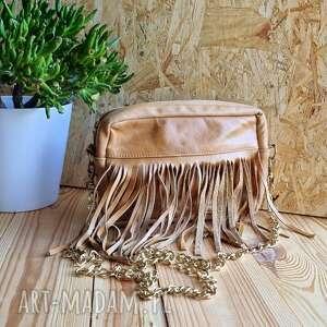 ręcznie zrobione mini skórzana torebka z frędzlami brązowa