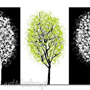 obraz drzewo 3 - 120x70cm na płótnie, obraz, drzewo, czarno, białe, zielone