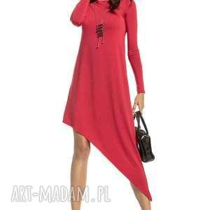 sukienka asymetryczna z delikatnej wiskozy, t299, czerwony