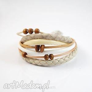 hand made bransoletka - beżowa rzemienie, koraliki drewniane