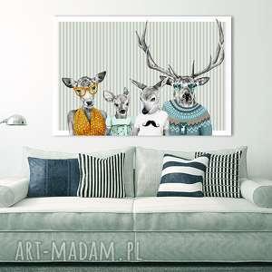 obraz na płótnie - 120x80cm rodzina jeleni córka z synem 2 wysyłka w 24h 02264
