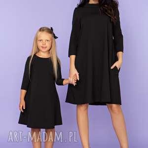 tessita komplet dla mamy i córki, elegancka sukienka trapezowa z kieszeniami, model
