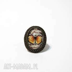 pierścionek - motyl retro owalny
