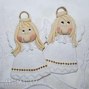 tak delikatnie - aniołki z masy solnej, anioły, dekoracja, prezent